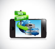 Phone and a data security server and shield Stock Photography