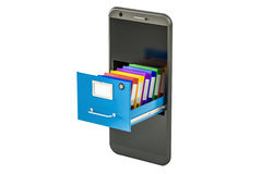 Phone data storage. Smartphone with folders in filing cabinet, 3. D rendering Royalty Free Stock Images