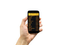 Phone with departures board Royalty Free Stock Images