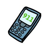 Phone with 911 on a dial. Flat design icon. Flat vector illustration. Isolated on white background. Phone with 911 on a dial. Flat design icon. Colorful flat vector illustration