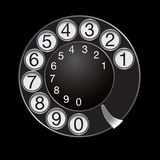 Phone dial. Isolated on black background. Vector illustration Stock Photography