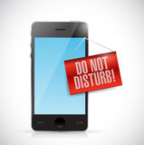 Phone with a do not disturb hanging sign Royalty Free Stock Photo