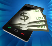 Phone Dollars Indicates World Wide Web And Banking Stock Photo