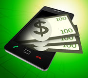 Phone Dollars Represents World Wide Web And American Stock Photography