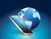 Phone and earth globe illustration Stock Image