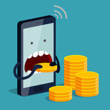 Phone is eating gold coin. Funny angry phone is eating gold coin, three stacks of coins near. Expensive payment of communications service, expensive tariff Royalty Free Stock Images