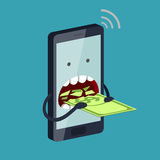 Phone is eating the money. Funny stylized phone is eating a banknote with dollar sign. Expensive payment of communication services and unremunerative tariff Royalty Free Stock Images