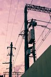 Phone and electricity lines with beautiful pink sky stock image