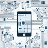 Phone and electronics circuit Stock Image