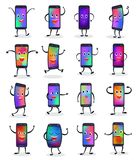 Phone emojji vector smartphone emoticon character and mobilephone or cellphone expression gadgets illustration set of. Digital mobile device emotion isolated on Royalty Free Stock Photo