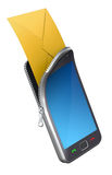 Phone with envelope. Smartphone with envelope (3D illustration vector illustration