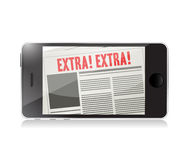 Phone extra news online illustration Stock Photos