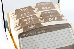 Phone File. Alphabetical address and phone number card file stock image