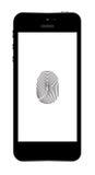 Phone finger scanner .  Illustration. . Royalty Free Stock Photography