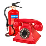 Phone with fire extinguisher, 3D rendering. Isolated on white background Royalty Free Stock Photo