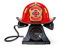 Phone with Firefighter Helmet, 911 concept. 3D rendering. Isolated on white background stock illustration