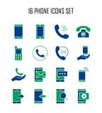 Phone flat icon. Phone icon set. Collection of telephone silhouette icons. 16 high quality logo of communication on white background. Pack of symbols for design Stock Photo