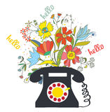 Phone with flowers and hello word - communication  illustration Stock Photo