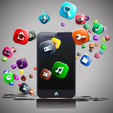 Phone and flying icons. Illustration of mart phone and flying around different icons Royalty Free Stock Photo