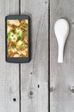 Phone food ordering concept Stock Photography