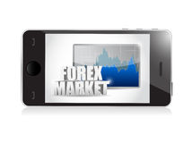 Phone and forex business graph illustration Stock Photo