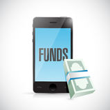 Phone funds money online concept Stock Photography