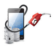 Phone with a gas pump nozzle Stock Photography