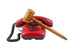 Phone and gavel isolated Royalty Free Stock Photography