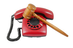 Phone and gavel isolated Stock Photography