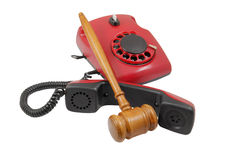 Phone and gavel isolated Royalty Free Stock Image
