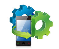 Phone and gears Stock Images