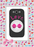 Phone in gift box love Royalty Free Stock Photography