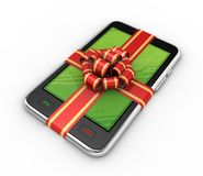 Phone in gift on white background Stock Photo