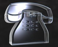 Phone in glass (3D) Royalty Free Stock Photo
