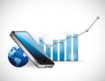 Phone globe and business graph. illustration Stock Photos