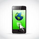 Phone globe and cursor illustration Stock Photography
