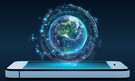 Phone and Globe surrounded by a virtual data network Stock Image