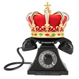 Phone with golden crown, 3D rendering. Isolated on white background Royalty Free Stock Photo