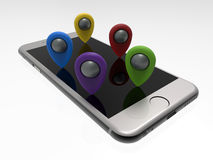 Phone GPS destination concept Stock Images
