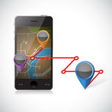 Phone gps and locations illustration Royalty Free Stock Images