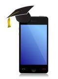 Phone with graduation hat Stock Photos