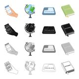 Phone in hand, globe, translation button, dictionary. Interpreter set collection icons in cartoon black monochrome Royalty Free Stock Photo