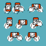 Phone in hand icon vector set. Hand gestures on smartphone touch Royalty Free Stock Image