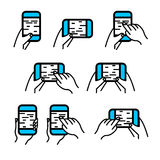 Phone in hand icon vector set. Hand gestures on smartphone touch Stock Photos