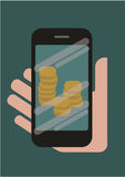 Phone in hand with money on the screen Royalty Free Stock Images