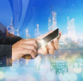 Phone hand , phone industry, smartphone, phone business Royalty Free Stock Images