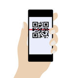 Phone in Hand, Scanning QR Code. Concept Identification of Infor Stock Photo