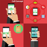 Phone in hand, take incoming call, order products via phone. Flat design,  illustration Royalty Free Stock Photography