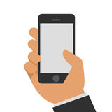 Phone in hand. Vector illustrations hand holding smart phone on a white background. Flat design Royalty Free Stock Photography