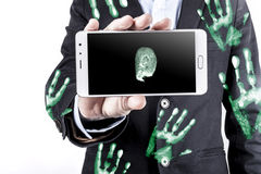 Phone And HandPrints Royalty Free Stock Photos